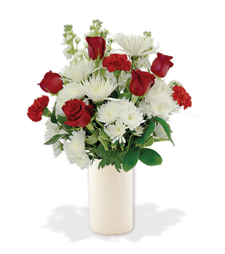Treasured Moments with White Vase - Red & White