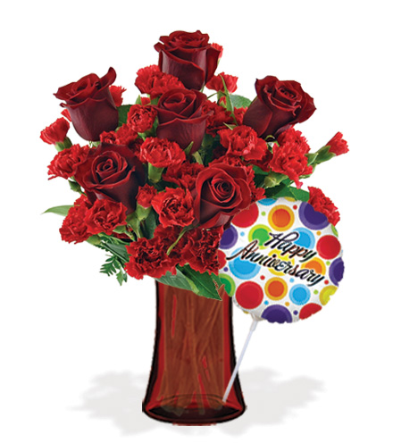 Stunning Red with Vase & Anniversary Balloon