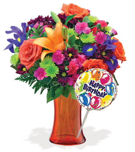 Vibrant Garden with Vase & Birthday Balloon