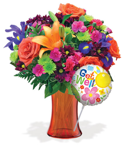 Vibrant Garden with Vase & Get Well Balloon