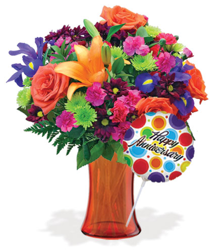 Vibrant Garden with Vase & Anniversary Balloon