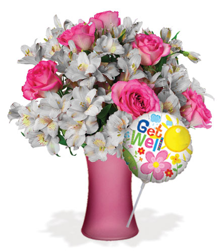 Shimmering Blush with Vase & Get Well Balloon