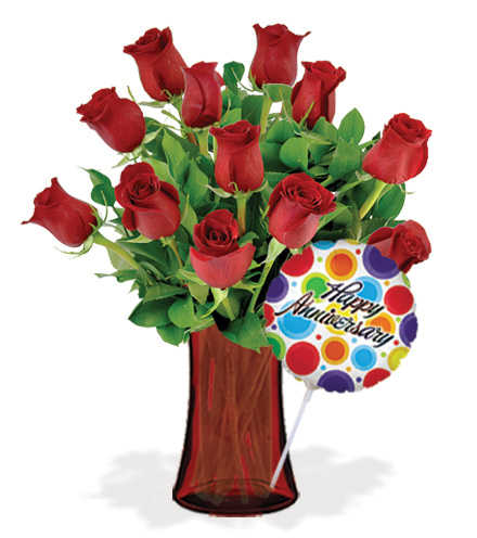 12 Red Roses with Vase & Anniversary Balloon