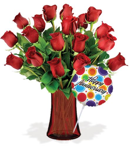 18 Red Roses with Vase & Anniversary Balloon