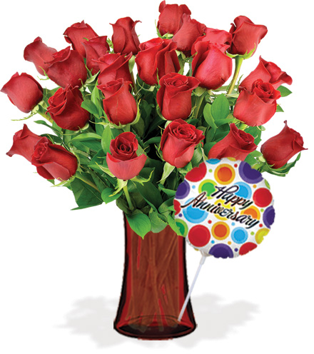 24 Red Roses with Vase & Anniversary Balloon