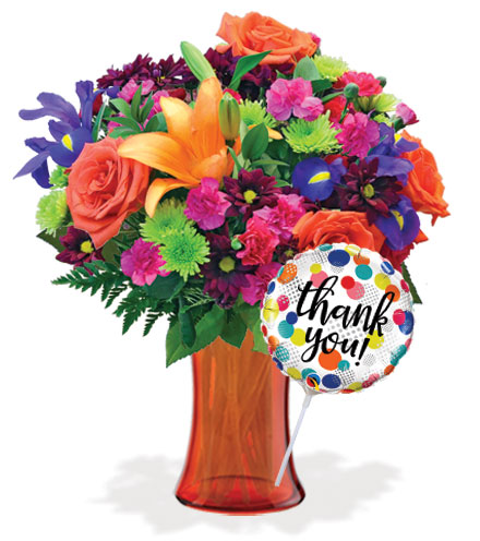 Vibrant Garden with Vase & Thank You Balloon