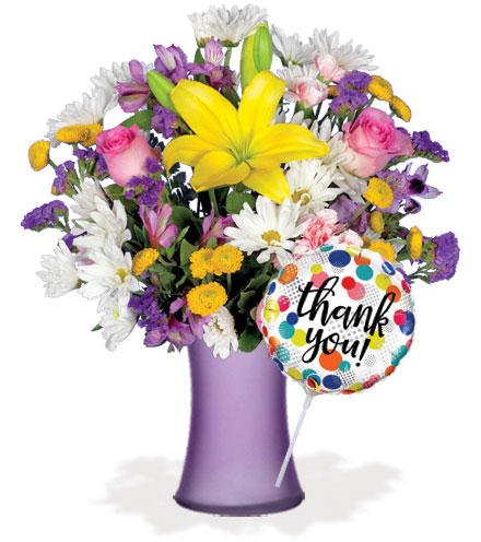 European Garden with Vase & Thank You Balloon