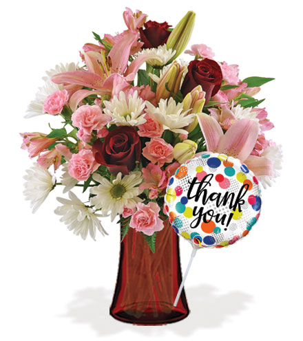 Sweet Sentiments with Vase & Thank You Balloon