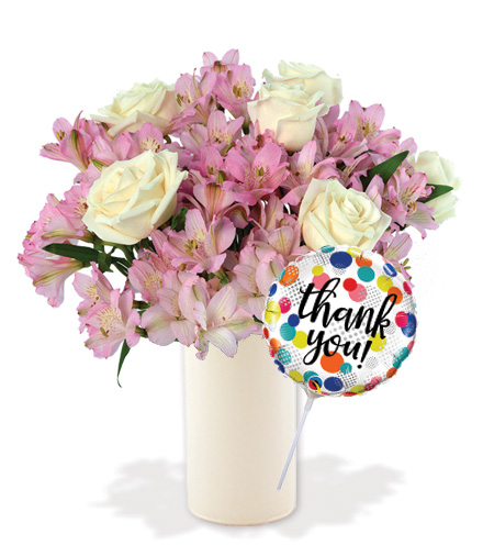 Pink Pearls with Vase & Thank you Balloon