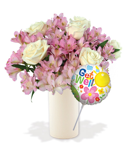 Pink Pearls with Vase & Get Well Balloon