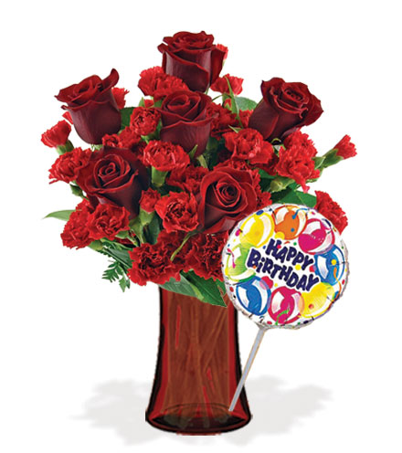 Stunning Red with Vase & Birthday Balloon