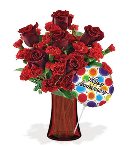 Stunning Red with Vase & Anniversary Balloon