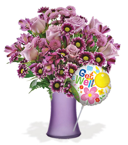 Purple Passion with Vase & Get Well Balloon