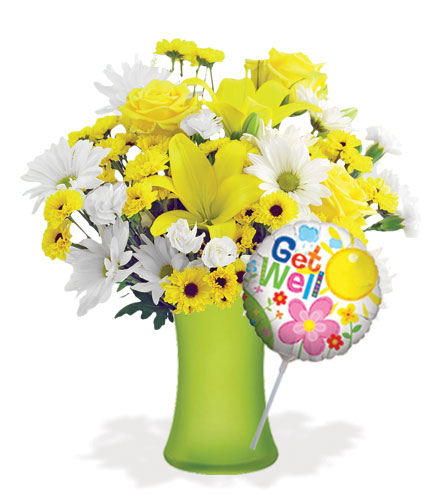 Delightful Sunshine with Vase & Get Well Balloon