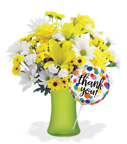 Delightful Sunshine with Vase & Thank You Balloon