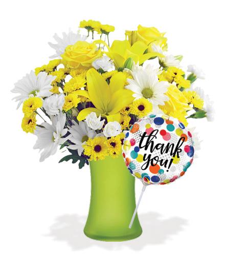 Delightful Sunshine with Vase & Thank You Balloon