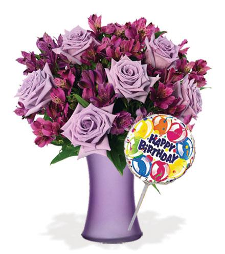 Twilight Lavender Skies with Vase & Birthday Balloon