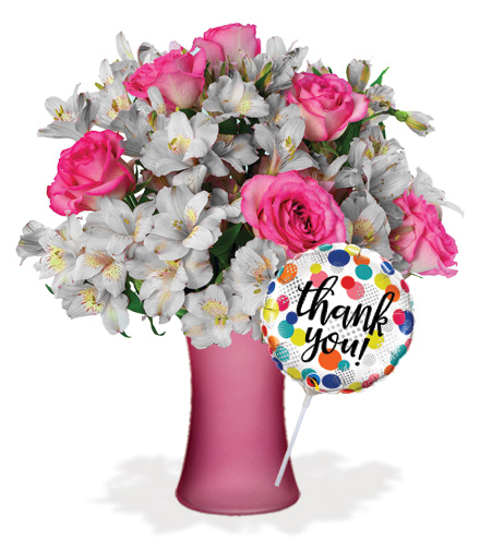 Shimmering Blush with Vase & Thank You Balloon