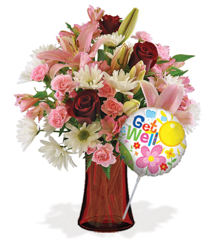 Sweet Sentiments with Vase & Get Well Balloon