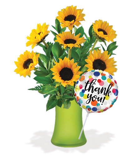 Lazy Day Sunflowers with Vase & Thank You Balloon