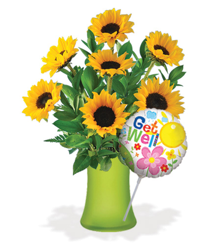 Lazy Day Sunflowers with Vase & Get Well Balloon