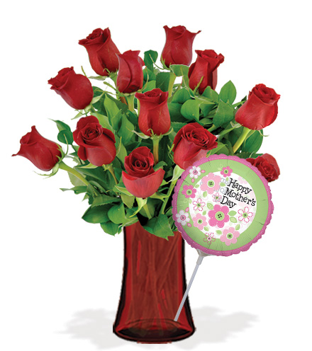 12 Red Roses with Vase & Mother's Day Balloon