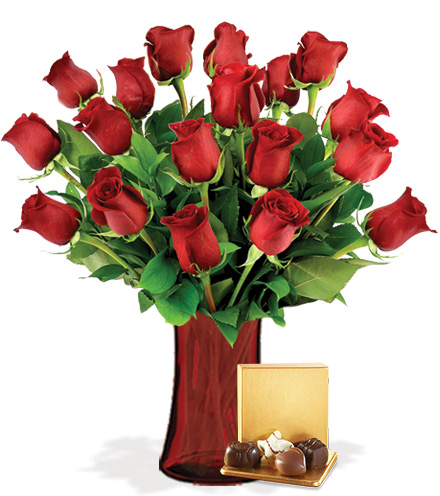 18 Red Roses with Vase & Chocolates