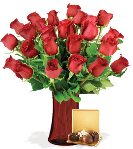 24 Red Roses with Vase & Chocolates