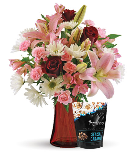 Sweet Sentiments with Vase & Sea Salt Caramel Popcorn