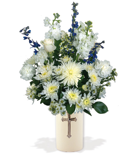 Treasured Moments with Cross Vase - Blue & White