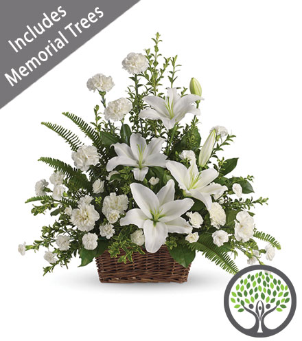 Peaceful White Lilies Basket with Trees of Tribute