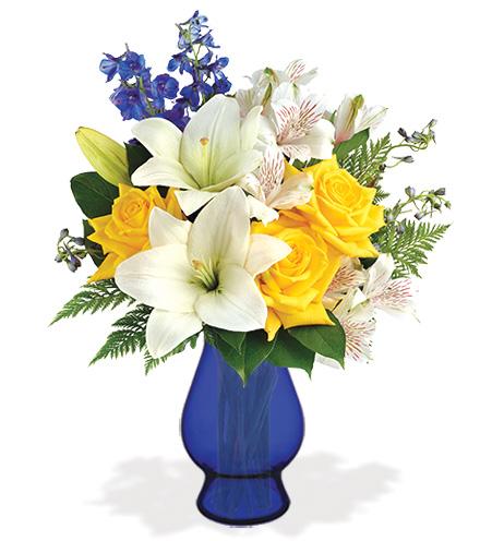 Oceanside Garden with Blue Vase