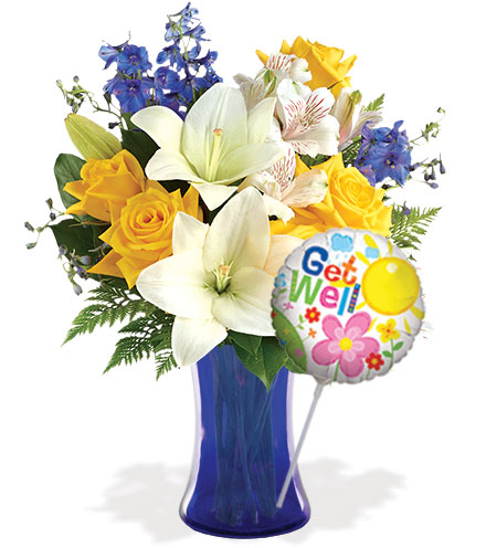 Oceanside Garden with Vase & Get Well Balloon