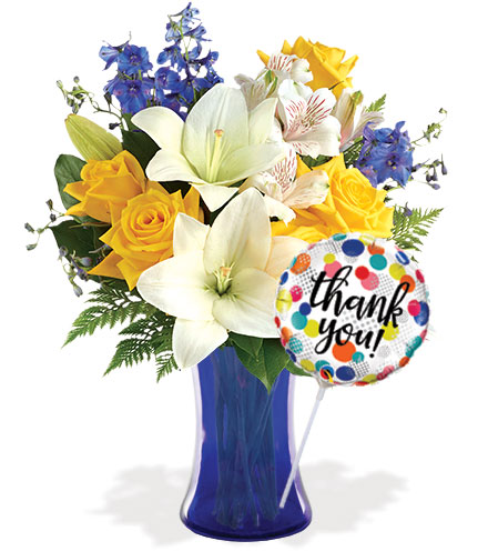 Oceanside Garden with Vase & Thank You Balloon
