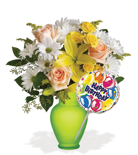 Daisies and Sunbeams with Vase & Birthday Balloon