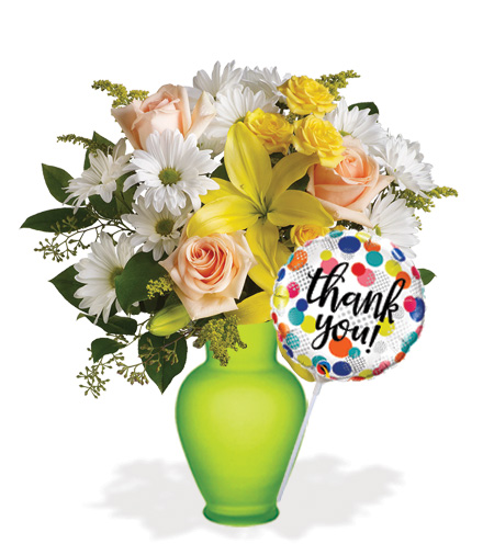 Daisies and Sunbeams with Vase & Thank You Balloon
