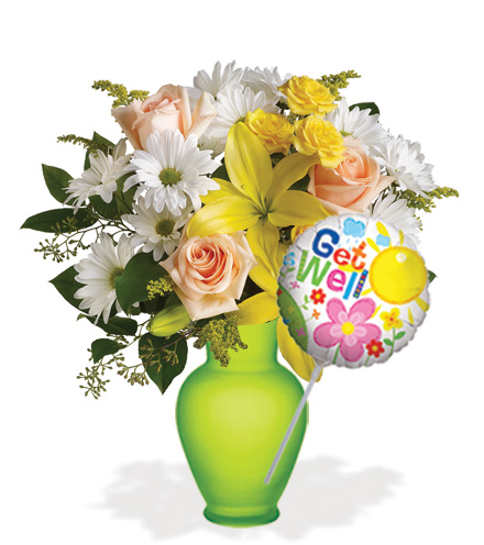 Daisies and Sunbeams with Vase & Get Well Balloon