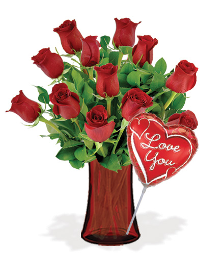 12 Red Roses with Vase & Love Balloon