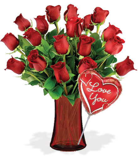 18 Red Roses with Vase & Love Balloon