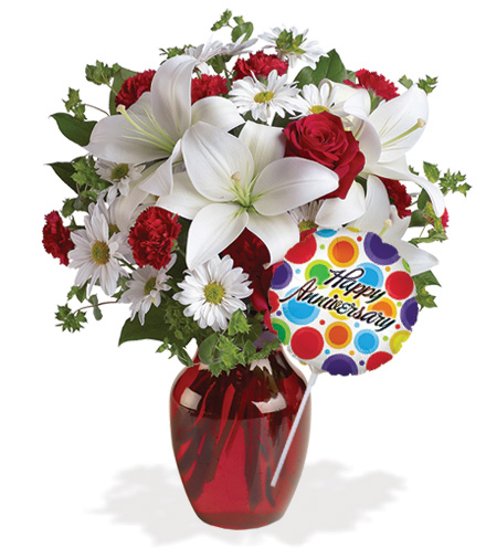 Be My Love Red Roses with Vase & Anniversary Balloon