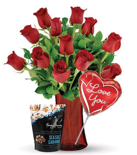12 Red Roses with Love Balloon & Caramel Popcorn