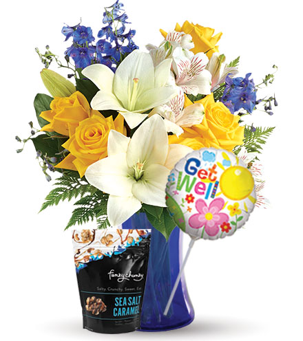 Oceanside Garden with Get Well Balloon & Caramel Popcorn
