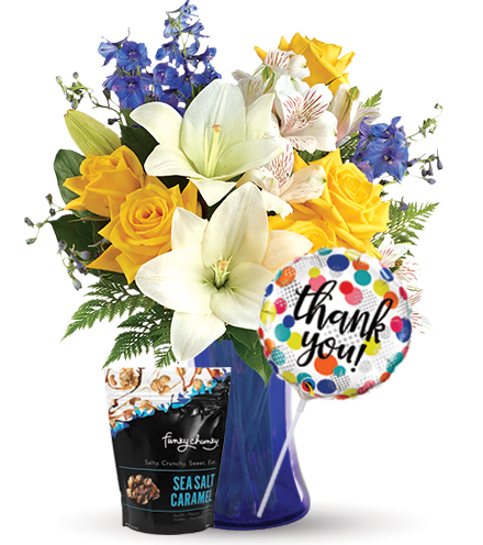 Oceanside Garden with Thank You Balloon & Caramel Popcorn