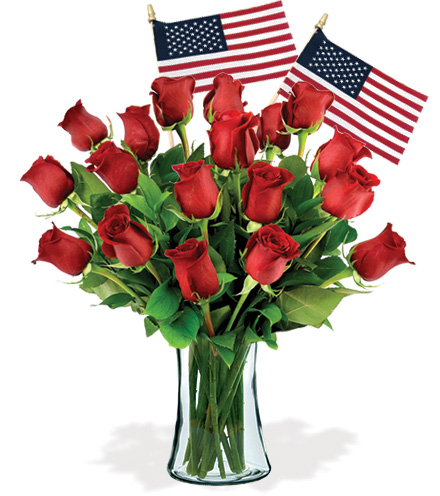 18 Red Roses & USA Flags