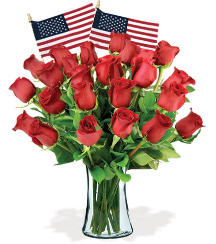 24 Red Roses & USA Flags
