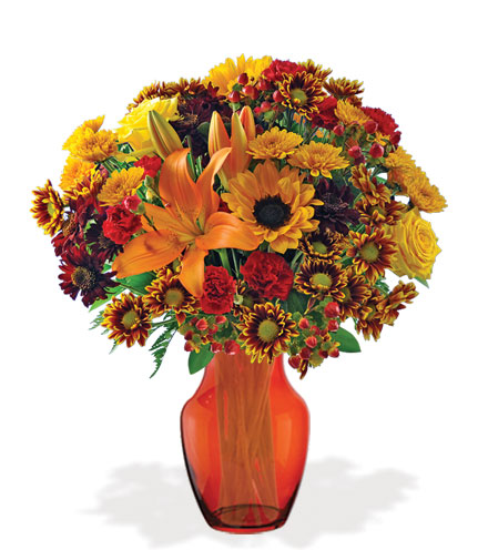 Autumn Harvest with Orange Vase