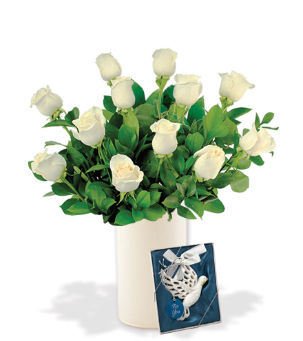 12 White Long-Stem Roses with Dove Ornament