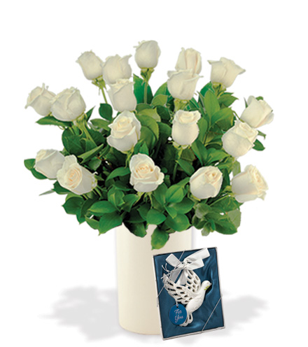 18 White Long-Stem Roses with Dove Ornament