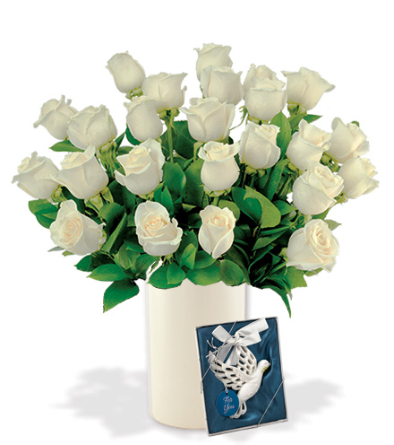 24 White Long-Stem Roses with Dove Ornament