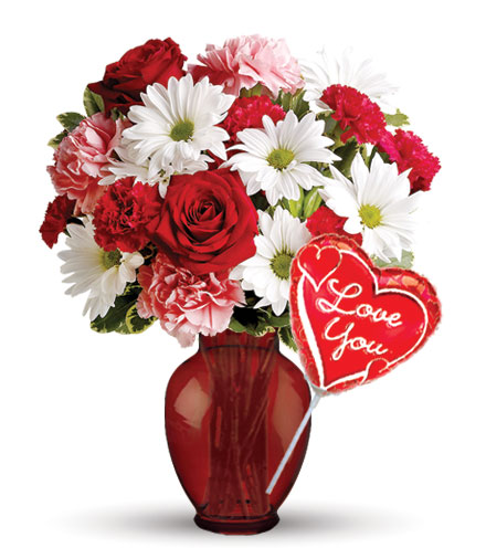 Hugs and Kisses with Vase & Love Balloon